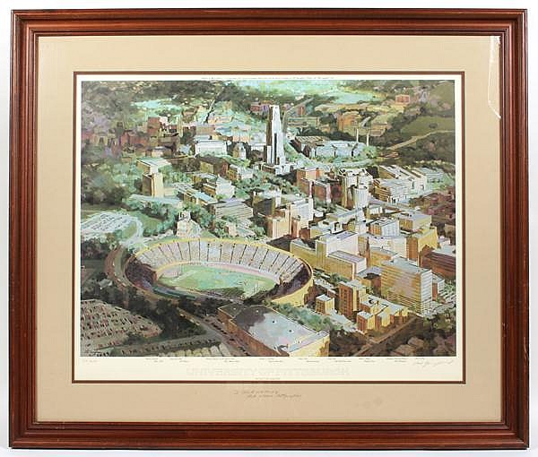 NAT YOUNGBLOOD (1916-2009) 'University of Pittsburgh', color lithograph, pencil signed and numbered 75/950. With personalized inscription and additional signature on mat. Contained in matted wood frame under glass. Condition: no visible defects.