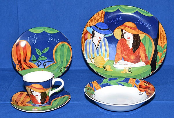 CAFE PARIS DINNERWARE BY SANGO 48 PIECES. Colorful dinnerware in Cafe Paris pattern. Marked & CAFE PARIS DINNERWARE BY SANGO 48 PIECES. Colorful dinnerwar