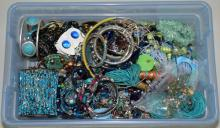 BIN LOT ASSORTED BLUE AND GREEN TONE COSTUME JEWELRY - Condition: Age appropriate wear; All items sold as is.
