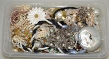 BIN LOT ASSORTED PEARL COSTUME JEWELRY - Condition: Age appropriate wear; All items sold as is.