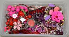 BIN LOT ASSORTED PINK, RED & PURPLE TONE COSTUME JEWELRY - Condition: Age appropriate wear; All items sold as is.