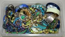 BIN LOT ASSORTED BLUE & GREEN TONE COSTUME JEWELRY - Condition: Age appropriate wear; All items sold as is.