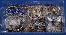 BIN LOT ASSORTED RHINESTONE COSTUME JEWELRY - Condition: Age appropriate wear; All items sold as is.