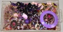 BIN LOT PINK, RED & PURPLE TONE COSTUME JEWELRY - Condition: Age appropriate wear; All items sold as is.