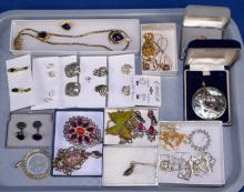 ASSORTED COSTUME JEWELRY - includes earrings, pendants and necklaces - Condition: Age appropriate wear; All items sold as is.