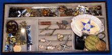 ASSORTED COSTUME JEWELRY - Includes pin backs, religious, men's and badges - Condition: Age appropriate wear; All items sold as is.