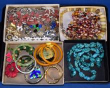 TRAY LOT OF ASSORTED COSTUME JEWELRY - Includes Jay King, DTR, turquoise beads, necklaces and more - Condition: Age appropriate wear; All items sold as is.