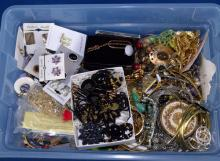 BIN LOT OF ASSORTED COSTUME JEWELRY - Condition: Age appropriate wear; All items sold as is.