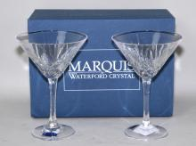 PAIR MARQUIS BY WATERFORD BROOKSIDE MARTINI GLASSES NIB - Condition: Age appropriate wear; All items sold as is.