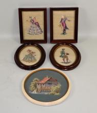 (5) FRAMED NEEDLE WORKS - (1) Cottage in round frame; man & woman set in oval frame and man & woman set in rectangular frames; from Kauffman's Art Shop, York, PA - Condition: Age appropriate wear; All items sold as is.