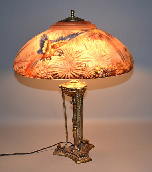 Pairpoint Reverse Painted Parrot Table Lamp Pairpoint Rever