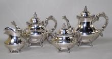 4pc REED AND BARTON STERLING TEA/COFFEE SET #670 - Includes coffee pot, teapot, cream and lidded sugar; Total weight: 73.49 ozt - Condition: Age appropriate wear; All items sold as is.