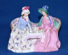 ROYAL DOULTON FIGURINE ''AFTERNOON TEA'' - Condition: Age appropriate wear; All items sold as is.