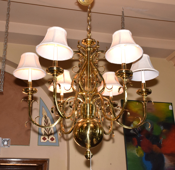 Solid Brass Williamsburg Style 6 Light Chandelier Fitted Wit