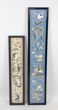 (2) HAND STITCHED CHINESE SILK EMBROIDERY PANELS - Framed under glass; Measures: (1) 19.75''H x 4.25''W and (1) 27''H x 5''W - Condition: Age appropriate wear; All items sold as is.