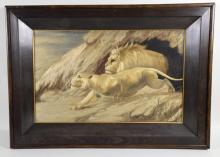 SILK EMBROIDERED WILDLIFE SCENE - Silk embroidered; wildlife scene of a lion and lioness; not signed; set under glass in wood frame; Measures: Visible Art 13.5''H x 22''W, Frame 20.5''H x 29''W - Condition: Age appropriate wear; All items sold as is.