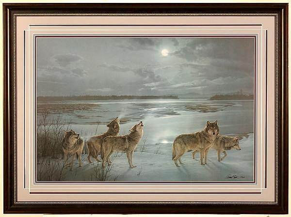 DANIEL SMITH (1954- ) 'Moon Song', lithograph, signed and numbered 278/2306. Comes with certificate of authenticity. Condition: no visible defects. Dimensions: 20'' X 30'', frame 28 3/4'' X 38 3/4''.