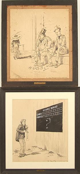 CHARLES RAYMOND MACAULEY (New York 1871-1934) Two pieces. (1) 'The Day of Agony', ink and wash on paper, signed lower right C.R. Macauley. Ttiled on frame.(1) 'The Merry Widow', ink and wash on paper, signed lower right C.R. Macauley. Titled on