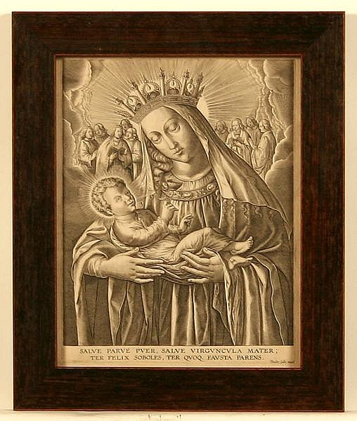 THEODORE GALLE ENGRAVING GF MADONNA AND CHILD. 17th c. engraving by Theodore Galle (Flemish b.1571-d. 1633) Engraving of Madonna and Child as Parve Puer & Virguncula Mater. framed under glass with rood frame, no mat. Marked: Theodor Galle excud.