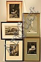 TIMOTHY COLE (1852-1931) Five framed engravings. (1) Mrs. Graham after Gainsborough; (1) Autumn Oaks after George Inness; (1) The Connoisseur after H.W. Watrous; (1) Evening after Ruckstuhl; and (1) The Reader after John Hemming Fry. All pencil, Timothy Cole, Click for value