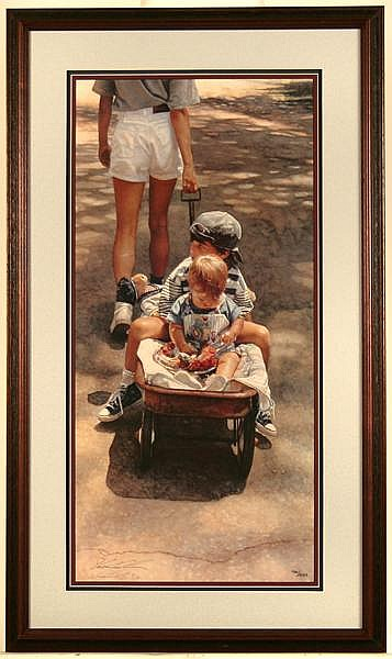 STEVE HANKS (1949- ) 'Traveling at the Speed of Life', lithograph, signed and numbered 700/1650. Comes with certificate of authenticity. Contained in matted frame under glass. Condition: no visible defects. Dimensions: 30'' X 14 5/8'', frame 37 3/4''