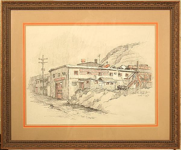 CYNTHIA COOLEY (Pittsburgh 20th-21st c.) 'Edw. J. Boyle Equipment Co.', charcoal and crayon, signed lower right Cynthia Cooley and dated 1978. Located at 28th Street and AVRR in the Strip District. Contained in matted molded wood frame under glass.