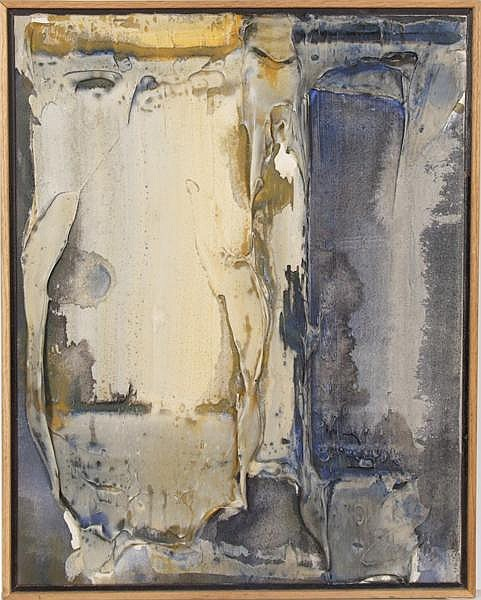 JIM BIRD (British 1937- ) '6 PM August', acrylic on canvas, signed, titled and dated 1989 on verso. Contained in oak floater frame. Condition: no visible defects. Dimensions: 22 3/4'' X 18'', frame 24'' X 19 1/4''. Provenance: Collection of Graham