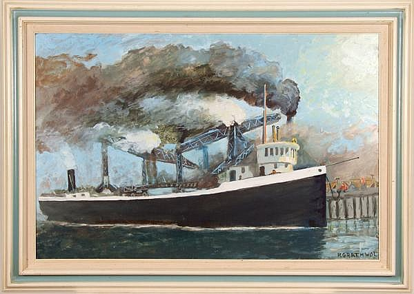 RAY ANTHONY GRATHWOL (Cleveland 1900-1992) 'Huletts at Cleveland, Cuyahoga River', oil on board, signed lower right R. Grathwol. Titled on verso. Contained in molded and painted wood frame. Condition: no visible defects. Dimensions: 24'' X 36'',