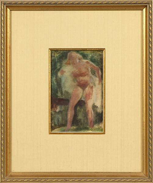 MALCOLM PARCELL (Western PA 1896-1987) Nude study, oil on paper, signed lower right Malcolm Parcell. Contained in silk matted gilt frame under glass. Condition: yellowed cellophane tape remnants at top. Dimensions: 6'' X 3 3/4'', frame 13 1/2'' X 11