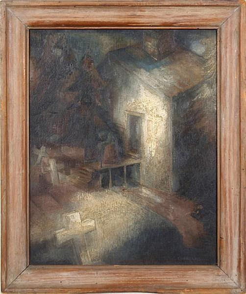 MARTY LEWIS CORNELIUS (Pittsburgh 1913-1979) 'Elegy', oil on board, signed lower right Cornelius and dated 1937. Associated Artists of Pittsburgh Exhibition label on verso: Twenty-Seventh Annual Exhibition (1937). Also inscribed: 27th Exhibit. Pitts.