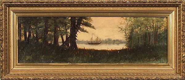 CLARENCE M. JOHNS (Pittsburgh 1843-1925) Forest landscape with lake and sailboat at center, oil on canvas, signed lower right Johns. Gallery label: J.J. Gillespie Company, Pittsburgh. Contained in period gilt gessoed frame. Condition: no visible