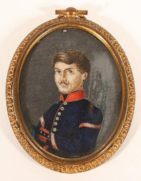 19TH C PORTRAIT MINIATURE. 19th c. portrait miniature of young man with military uniform, possibly Austro Hungarian nobility, set under glass in gilt metal case. No mark. Size: 3 5/8''H, 2 1/2''W. Condition: no visible defects, wear to metal finish.