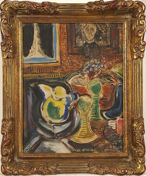 EMIL KELEMEN (Hungarian-American 1895-1975) Still life, gouache and watercolor on paper, signed lower left Kelemen and dated 1929 III 21 HC. Contained in molded frame under glass. Condition: remnants of old glue on verso, some roughness to edges.