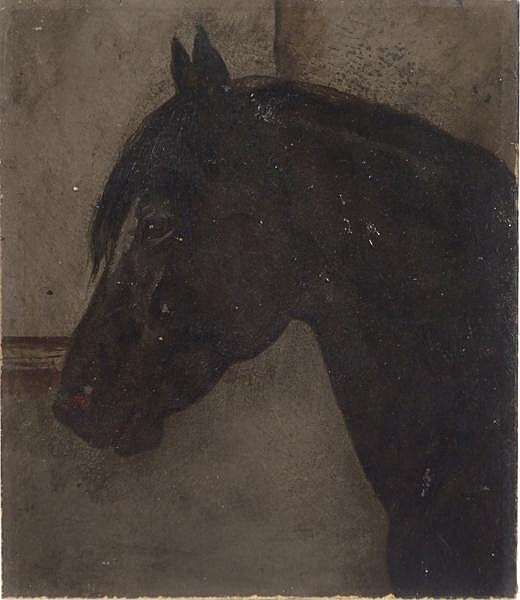 CLARENCE M. JOHNS (Pittsburgh 1843-1925) Black horse in stable, oil on board, unsigned. Label on verso: Harry Eichleay with title and attribution. Unframed. Condition: some roughness to margins. Dimensions: 11 7/8'' X 10 1/8''. Provenance: Collection
