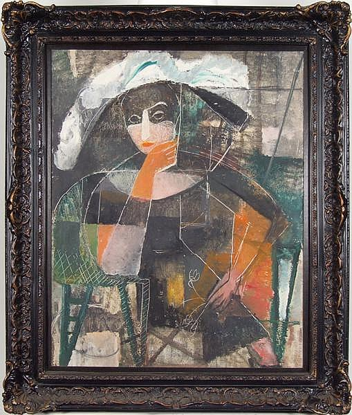 LOUISE PERSHING (Pittsburgh 1904-1986) Portrait of woman in feathered hat, oil on board, unsigned. Contained in painted molded frame. Condition: some light surface abrasions. Dimensions: 30'' X 24'', frame 37 3/4'' X 31 3/4''. Provenance: Collection