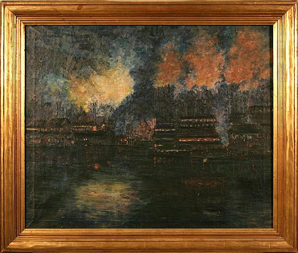WILLIAM J. HYETT (Pittsburgh 1876-1952) Night steel mill scene on the Monongahela, oil on canvas, signed lower right Will J. Hyett. Contained in original molded gilt frame. Hyett worked at the Carnegie Institute and participated in exhibitions with
