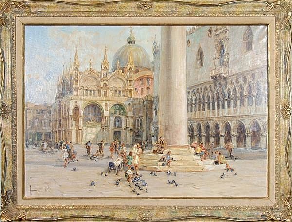 ANGELO BROMBO (Italian 1893-1962) Piazza San Marco, Venice, oil on canvas, signed lower left A. Brombo. Contained in a parcel gilt and hand grained molded frame. Condition: no visible defects. Dimensions: 27 5/8'' X 39 1/2'', frame 35'' X 46 3/4''.