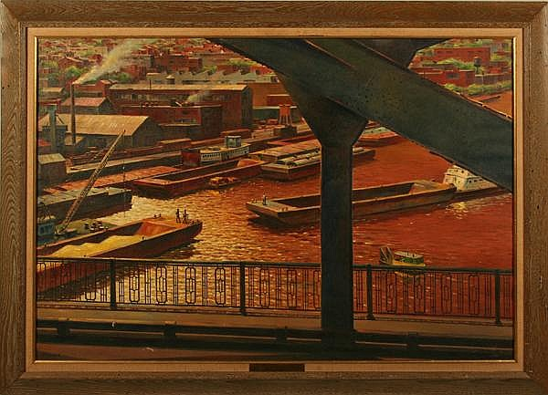 JOHN CARTER SHRYOCK (Pittsburgh/North Carolina 1914-2007) 'Monongahela Barges', oil on canvas, signed lower left Shryock. Titled on metal plaque. Contained in wormy chestnut frame. Condition: two scuffs at lower left. Dimensions: window 27 1/4'' X 39