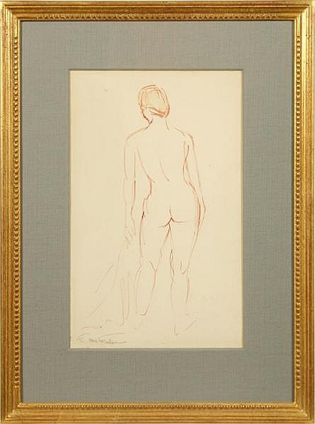 OTTMAR F. VON FUEHRER (Pittsburgh 1900-1967) Nude study, brush painted gouache, pencil signed O.F. Von Fuehrer. Contained in linen matted frame under glass. Condition: some light mat burn from previous framing. Dimensions: 14 3/4'' X 9'', frame 22