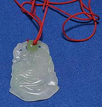 CARVED JADE PENDANT  Pale Green/White jade carved pendant on red cord. Pendant 1 3/4''L. No Mark. Condition all jewelry sold as is. (L#279)