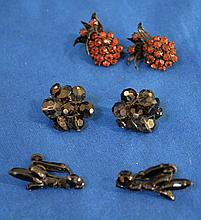 VENDOME COSTUME JEWELRY  Lot includes, Amber rhinestone screw back earrings. Smoke drystal bead clip back earrings. Black jet rhinestone clip back earrings.  Mark, Vendome. Condition all jewelry sold as is. (L#278)