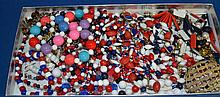 RED WHITE AND BLUE TONE COSTUME JEWERLY  Lot of misc. red white and blue tone jewelry. Various shapes and sizes. Condition all jewelry sold as is. (L#298)