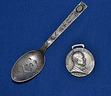 STERLING SILVER MEDAL AND SILVER AMERICAN INDIAN SPOON  No mark. Condition age appropriate wear. Sold as is. (L#679)