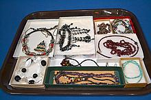 COSTUME JEWERLY LOT  Includes, Mexico Silver, Turquoise Bead Choker, Abalone Bead Necklace and other glass bead necklaces. 14 pieces total. No Mark. Condition, age appropriate wear. Sold as is.