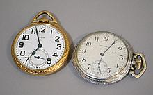 ELGIN 17 JEWEL, GOLD FILLED POCKET WATCH. Open face. Coupled together with a WALTHAM 15 JEWEL, OPEN FACE POCKET WATCH. Condition, age appropriate wear. All Jewelry sold as is.