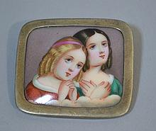 VICTORIAN PORCELAIN PORTRAIT PIN  Hand Painted Portrait Pin. Description, Two young girls praying.  Satin Sterling Encasement.  1 1/2''H.  1 3/4''W. No Mark. Condition, age appropriate wear. All jewelry sold as is.