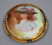 VICTORIAN OVAL BROOCH  Hand painted 15Th. Century Vigee Lebrun Style Woman.  2 3/4''H. 2 1/4''W. No Mark. Condition, age appropriate wear.  All jewelry sold as is.
