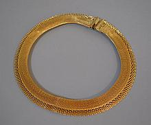 NECKLACE BY HATTIE CARNEGIE  Gold Tone Mesh Necklace. Designed by Hattie Carnegie.  15 1/2'' Total Length. No Mark.  Condition, age appropriate wear.  All jewelry sold as is.