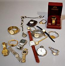 COLLECTION OF WATCHES 17 PIECE LOT  Includes, Orient, Timex, Marcal & Cie Stop Watch. Hamilton and Bulova.  Condition, age appropriate wear. All jewelry sold as is.