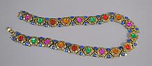 VINTAGE CABACHON JEWELED NECKLACE  Colorful cubachon jeweled decorated necklace. 18''L. No Mark. Condition, age appropriate wear. All jewelry sold as is.